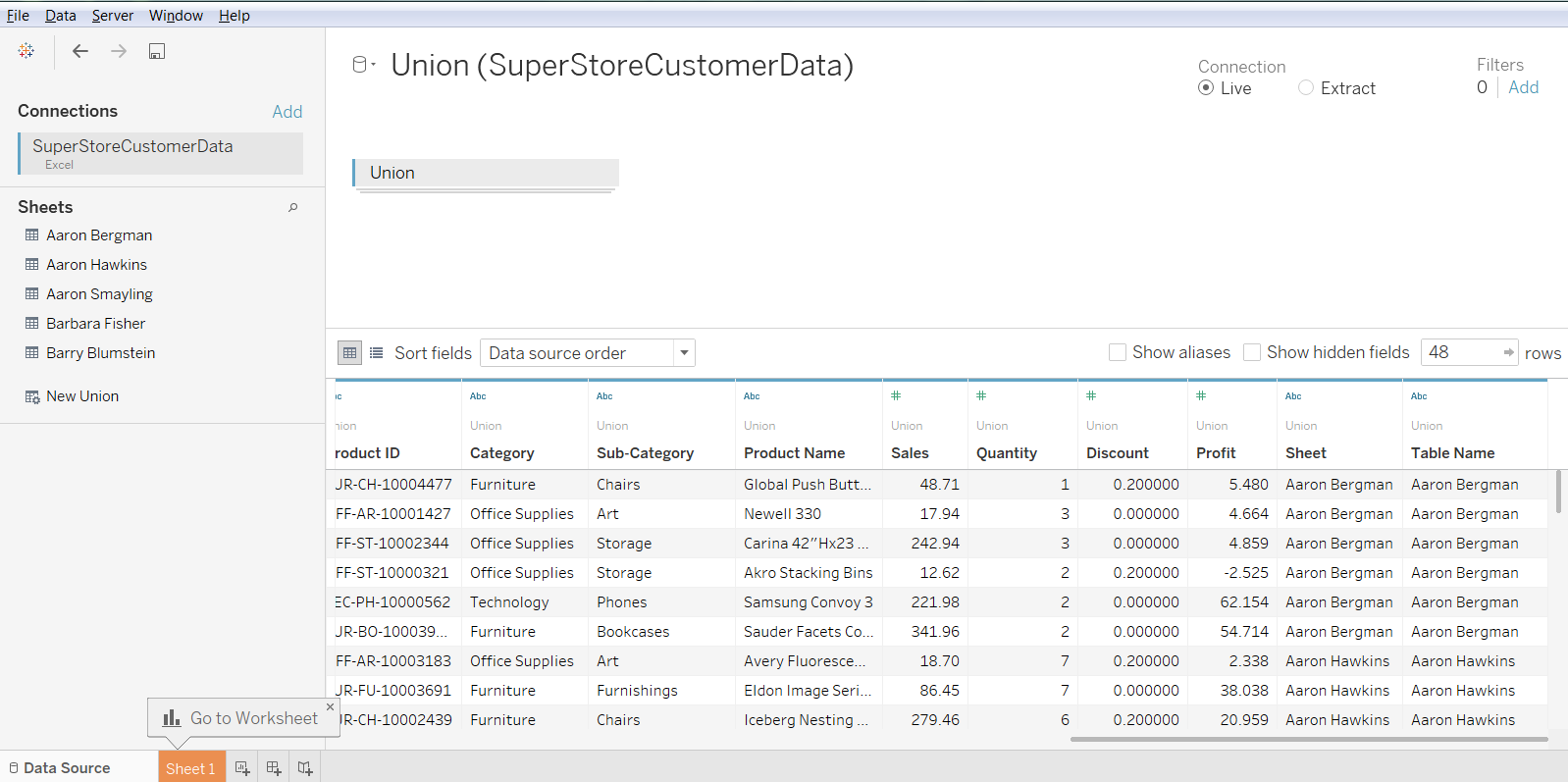 Use Case for Tableau Union 36