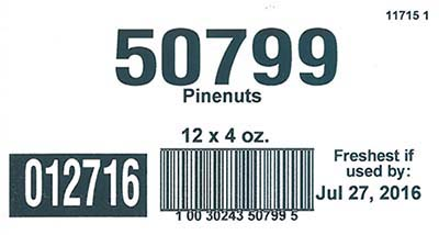 Case Label, of Good Sense Pinenuts, 12x4oz