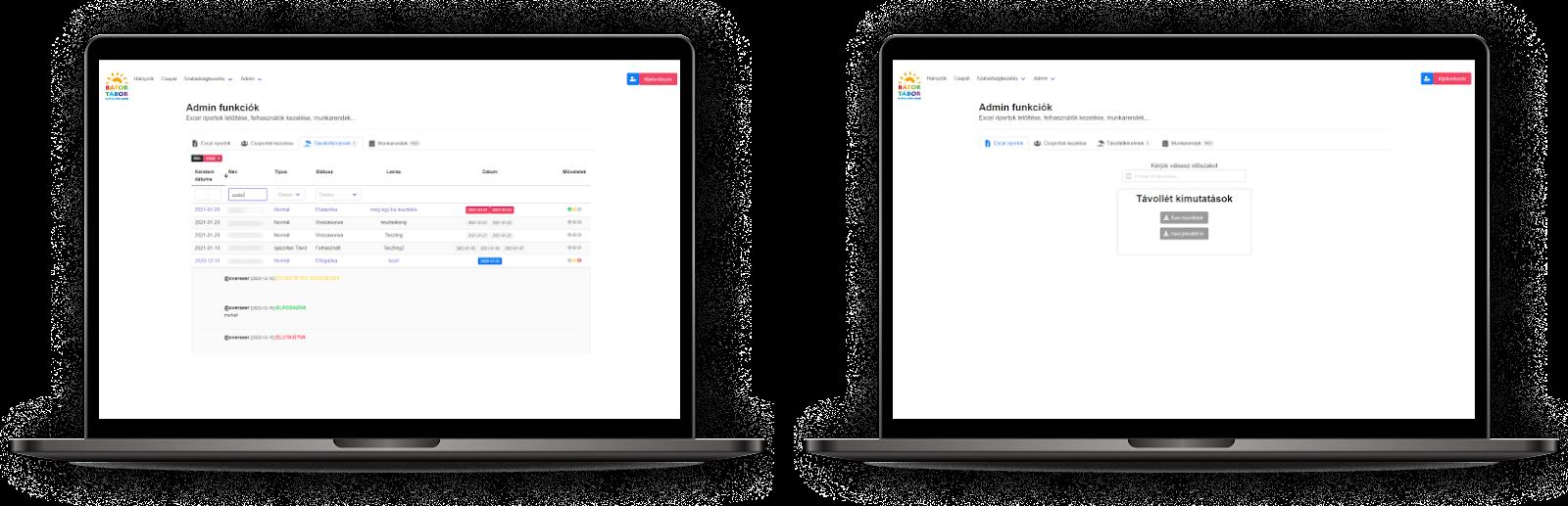 Webfejlesztés a Bátor Tábor számára - Online szabadság nyilvántartó rendszer