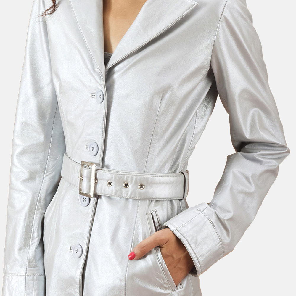 womens silver trench coat