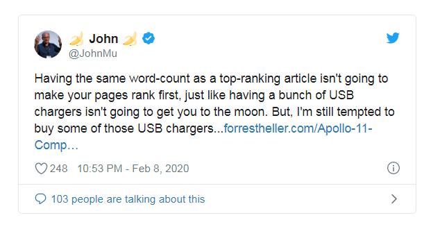 Джон Мюллер подтвердил, что количество слов символов в контенте не влияет на ранжирование