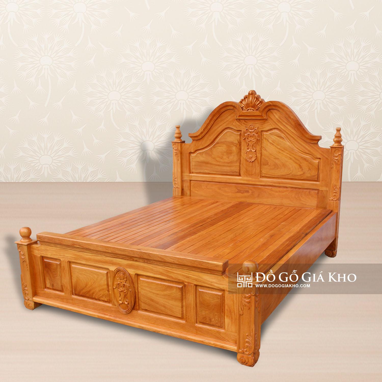 Giường Ngủ Gỗ Gõ Trơn Kiểu Nữ Hoàng