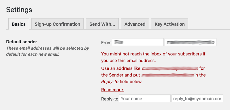 MailPoet settings for default sender.