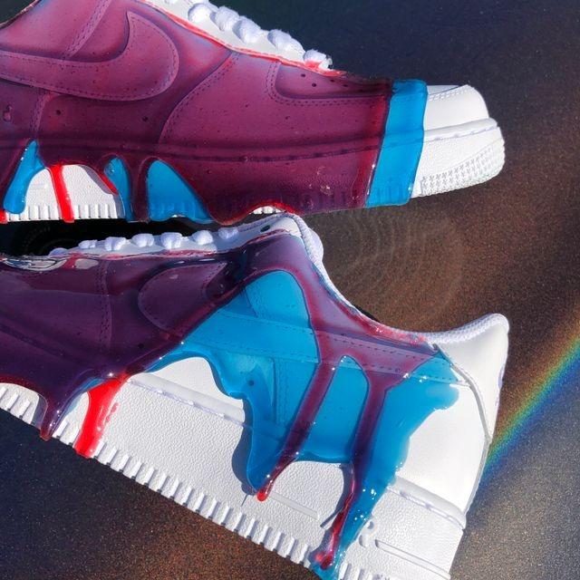 effetto slime con resina su scarpe