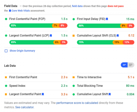pagespeed insight result core web vitals