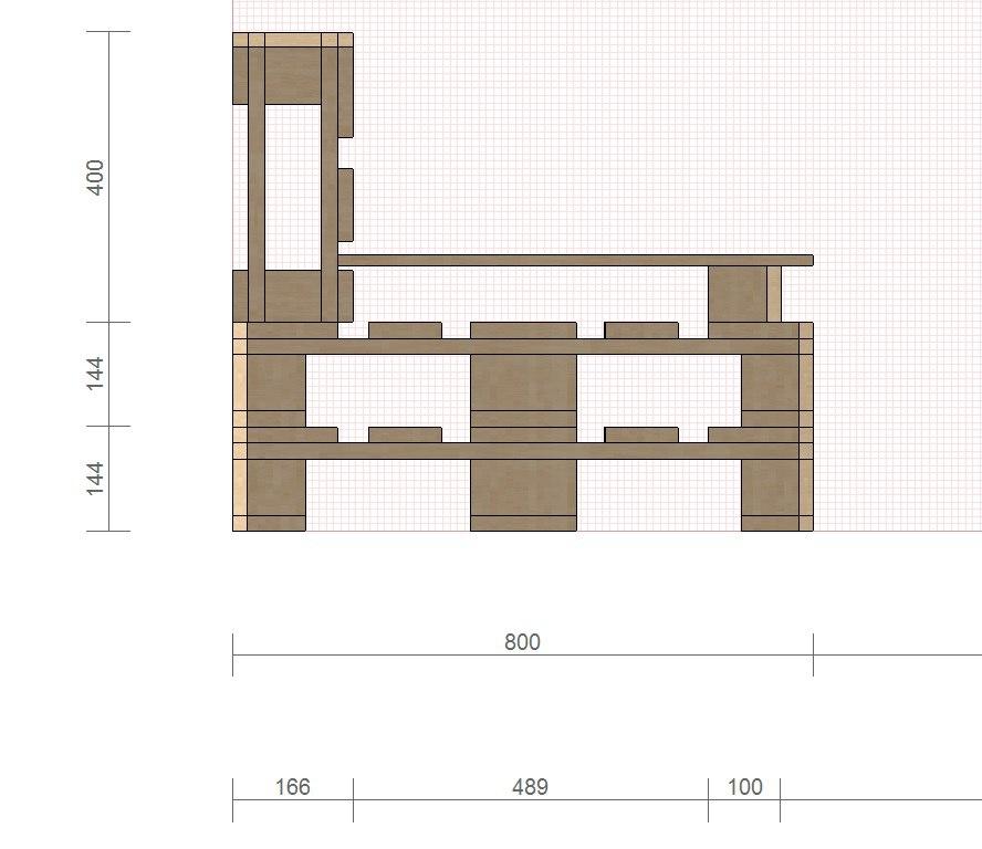 Схема садового дивана с размерами