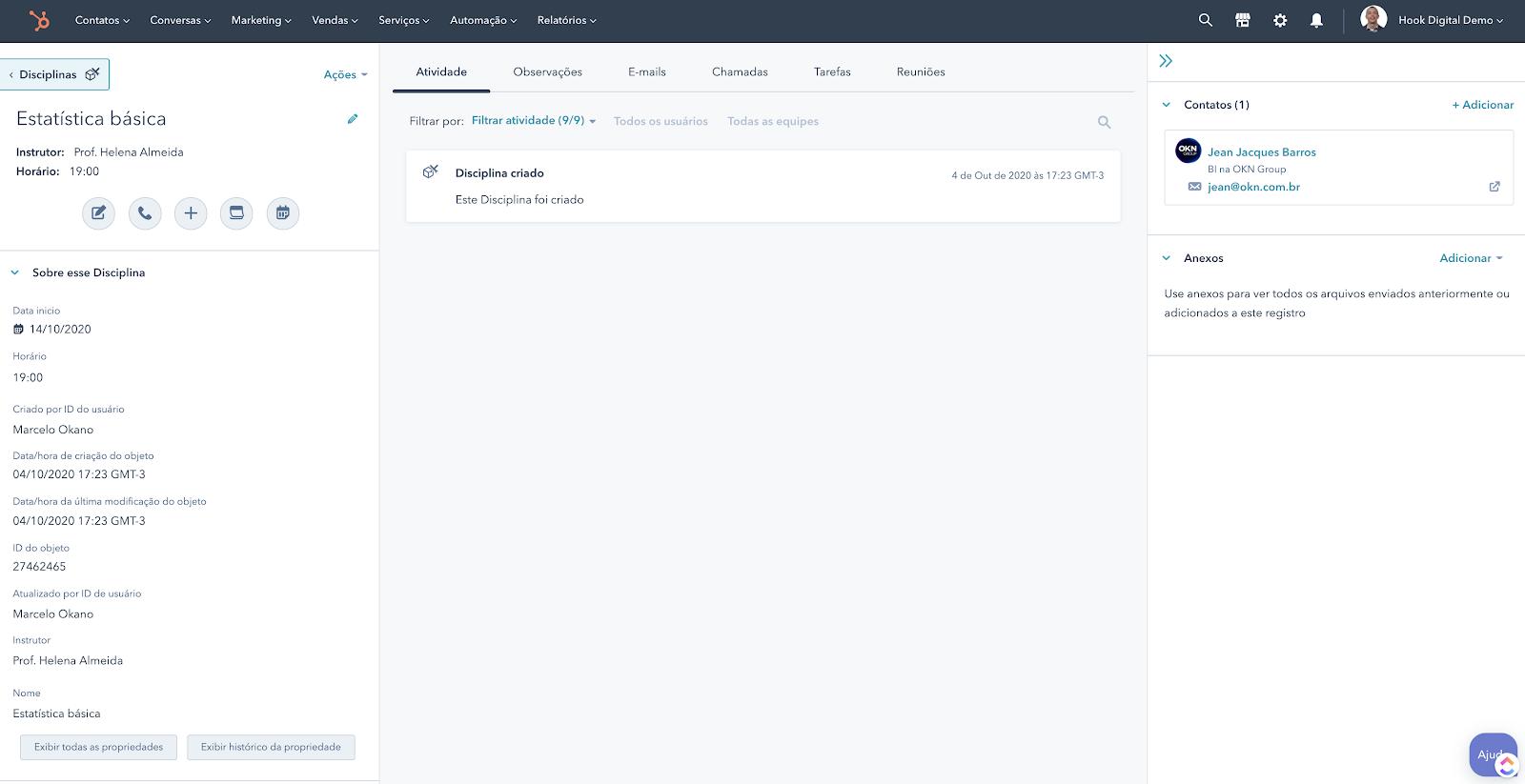 Hubspot Objeto customizado - detalhe