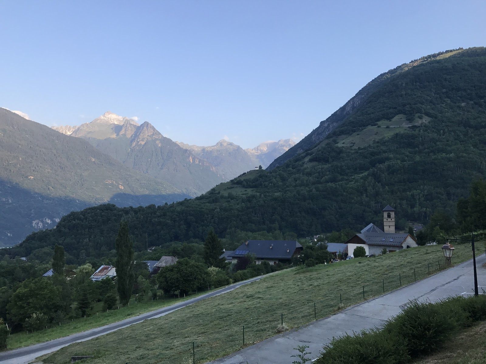Cycling Col de Madeleine from La Chambre  - view of roadway and mountains