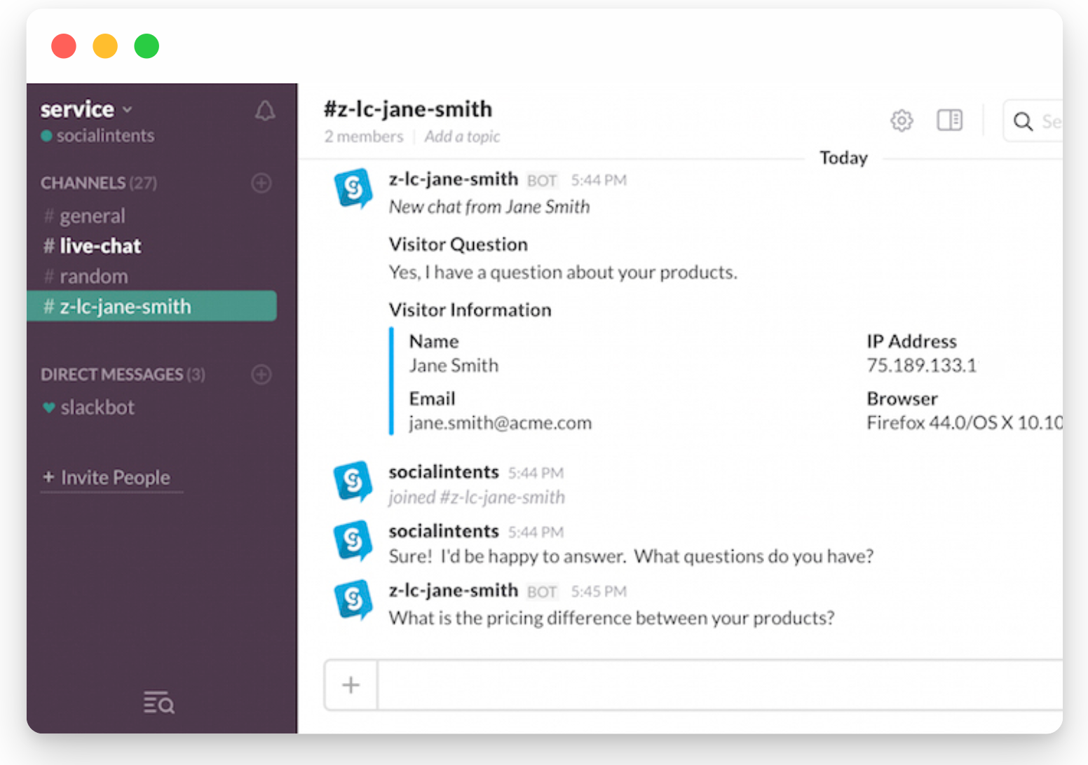 Example of a live chat connected with Slack.