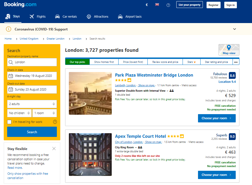 Main Features of a Hotel Booking System - Search System