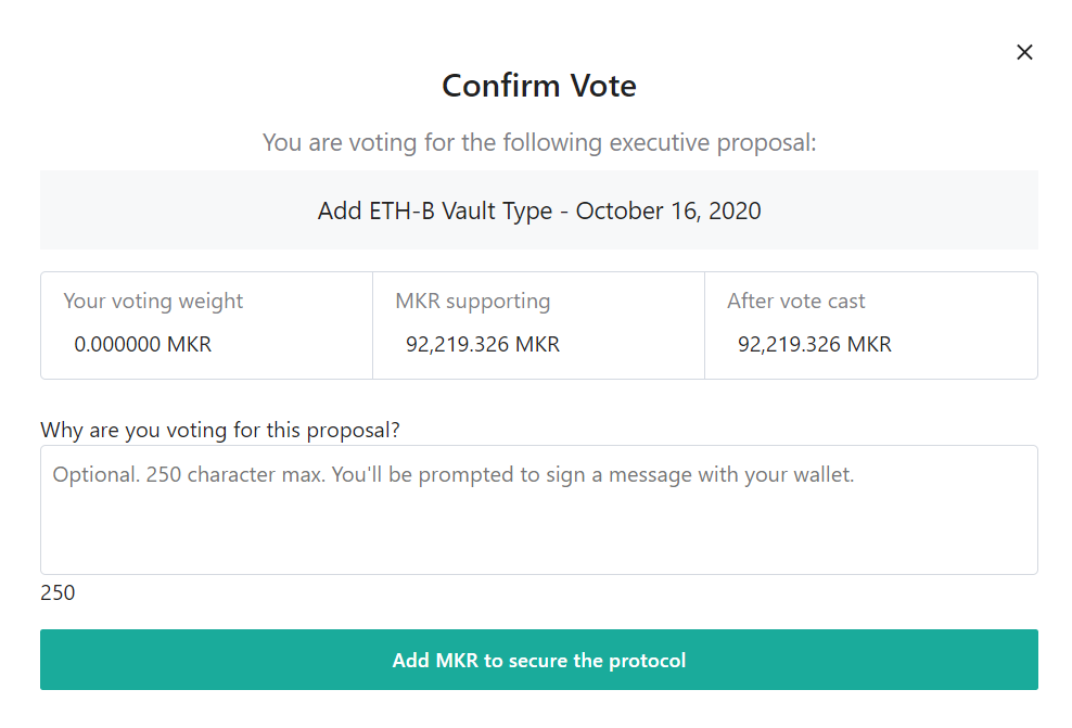 A short comment can now be added to each Executive Vote cast in the Maker Voting Portal.