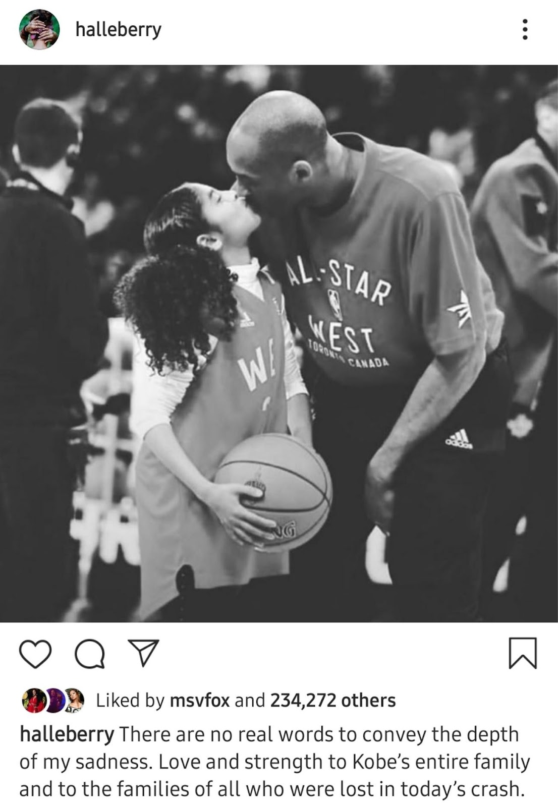 halleberry Liked by msvfox and 234,272 others halleberry There are no real words to convey the depth of my sadness. Love and strength to Kobe's entire family and to the families of all who were lost in today's crash.