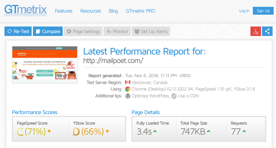 GTmetrix page performance results.