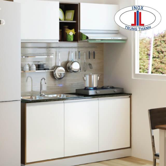 Bố trí tủ bếp với đầy đủ công năng sử dụng.
