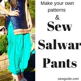 Patrón de bricolaje para coser pantalones Dhothi, pantalones salwar, pantalones churidhar, pantalones paralelos y pantalones Patiala