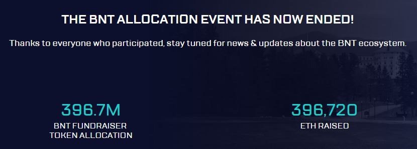 The BNT Allocation Event Has Now Ended