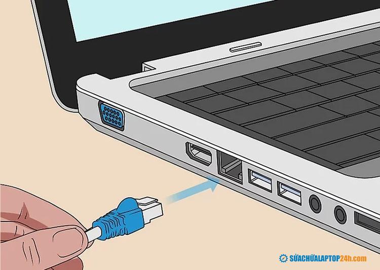 Đầu còn lại kết nối với laptop