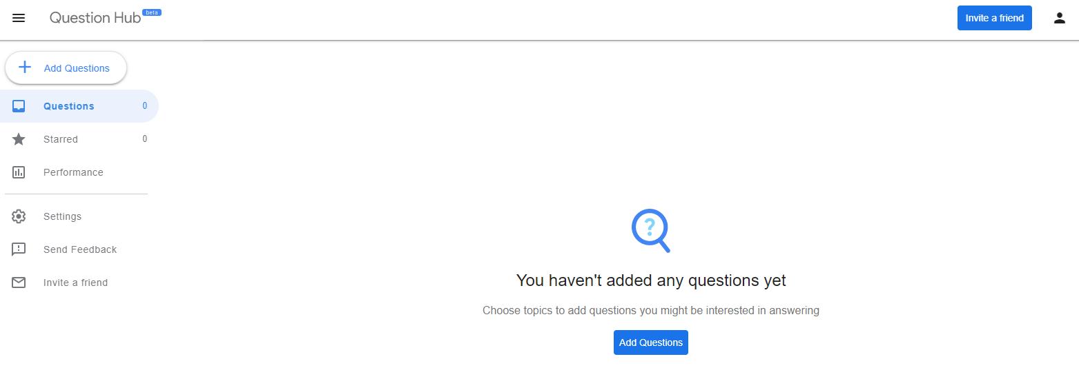 Google Question Hub Home