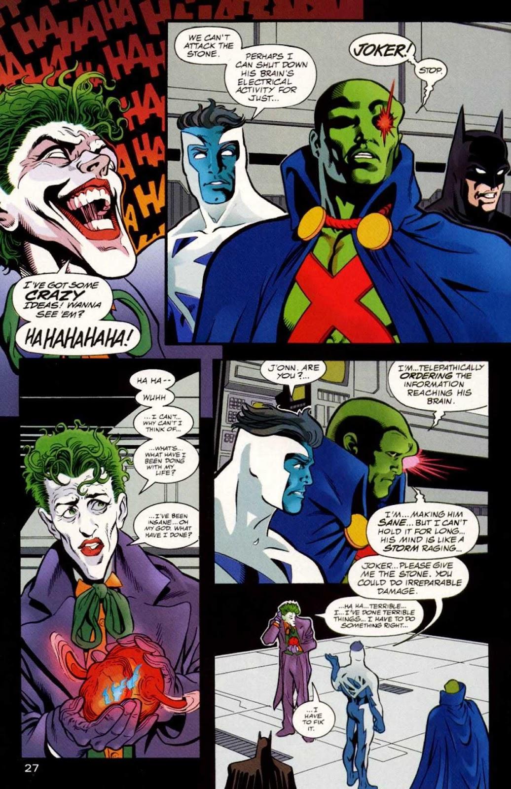 Martian Manhunter temporally cures the Joker [JLA #15] : justiceleague