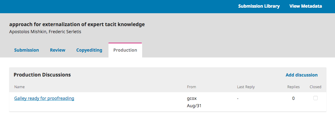 Production section of author dashboard