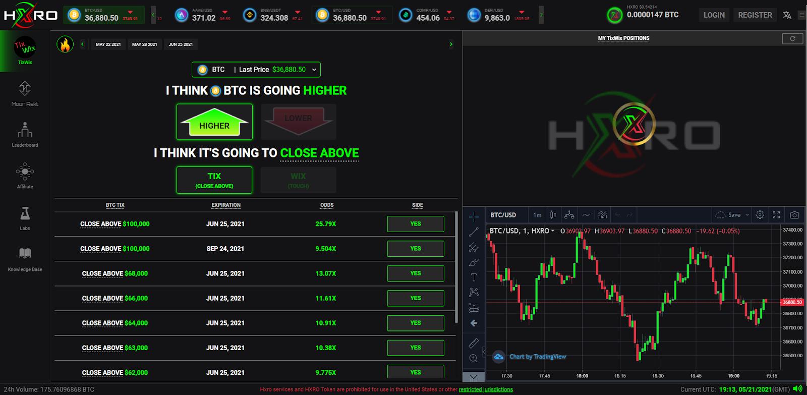 hxro trading interface