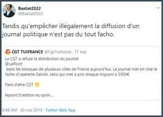 Tweet Bastiat2022 tandis qu'empêcher la diffusion d'un journal politique n'est pas du tout facho