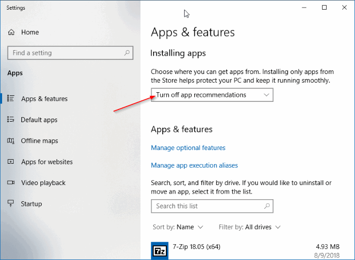 "A screenshot of Apps and Features on Windows 10. The arrow is pointing at the option, ""Turn off app recommendations""."