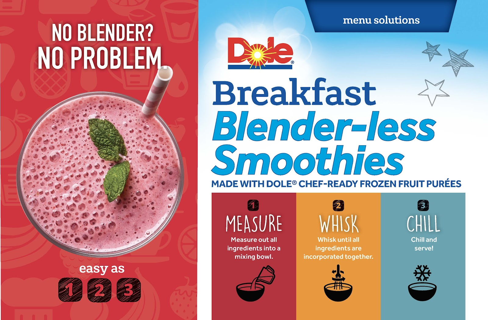 Dole brand images for Blenderless Smoothies and directions how to make them