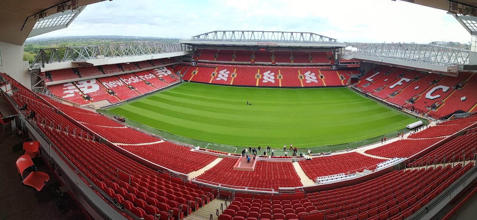 An empty Anfield football stadium