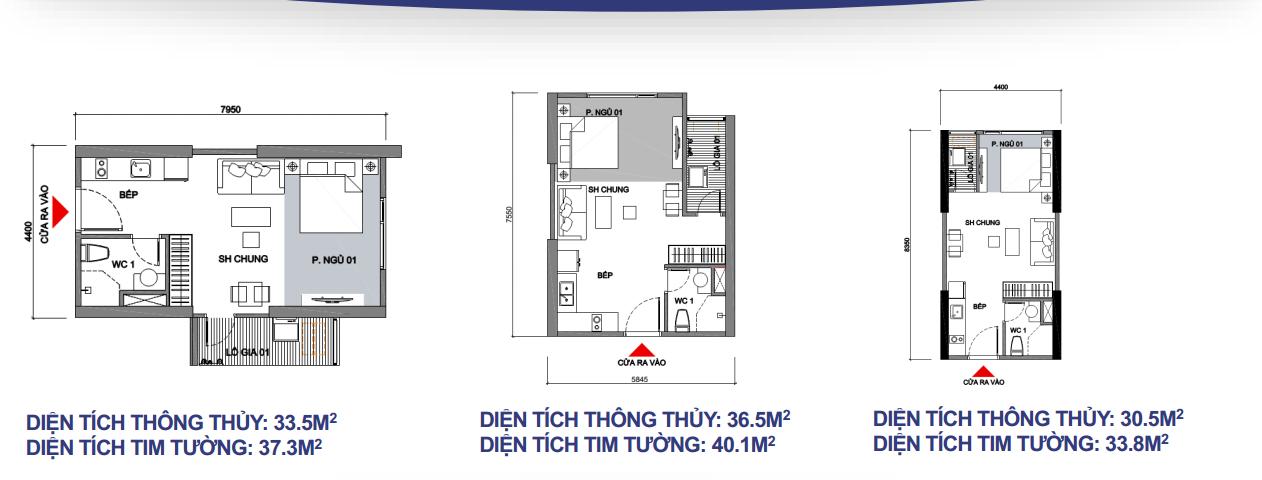 3 loại mặt bằng điển hình căn hộ Vinhomes Sapphire ( căn hộ studio)