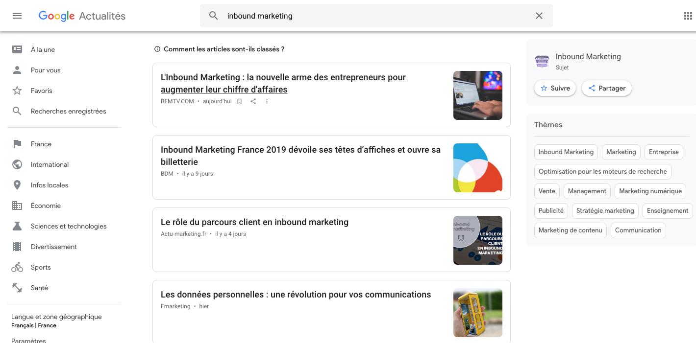 google actualites curation de contenu