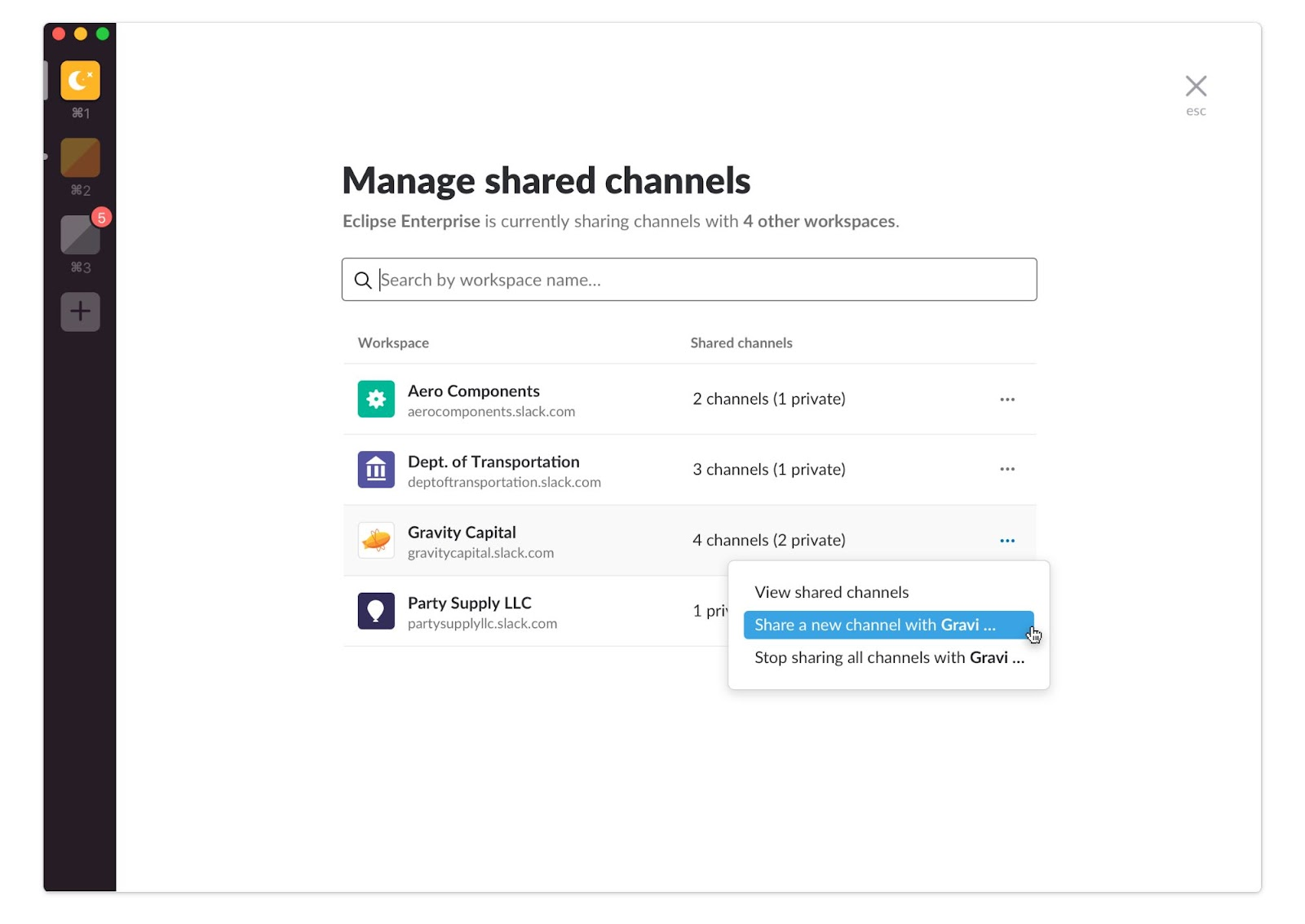 Managing Slack shared channels