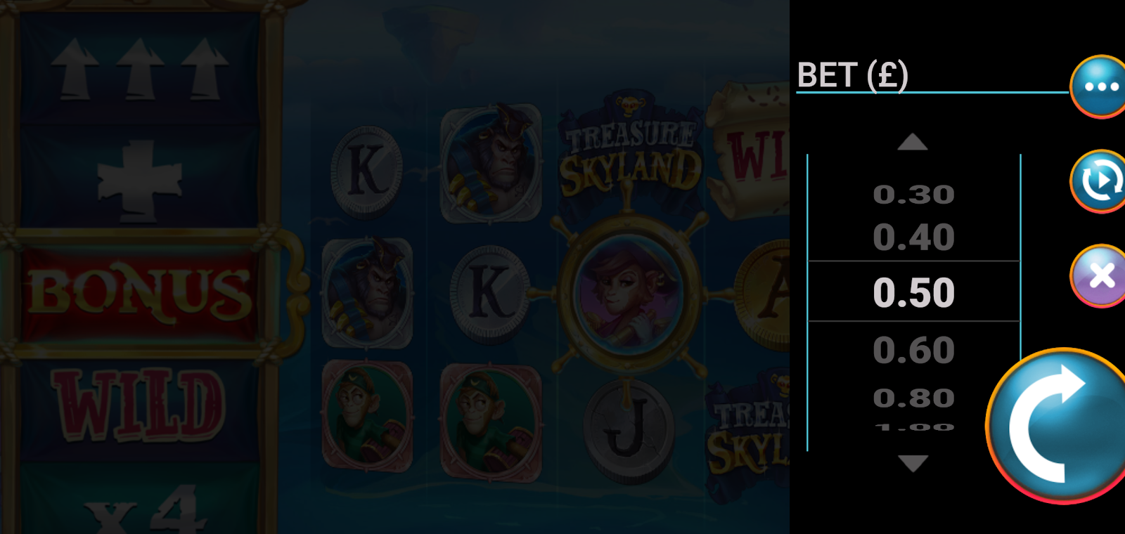 Treasure Skyland is a slots game that lets you place a range of bet sizes
