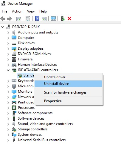 uninstall faulty driver