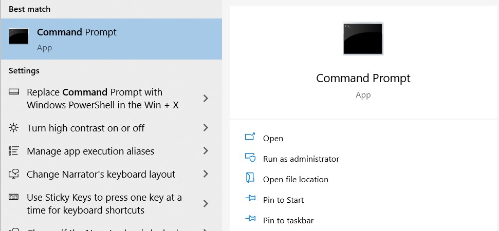Open the Command Prompt tool as an administrator. Search for it and choose Run as Administrator to do so.