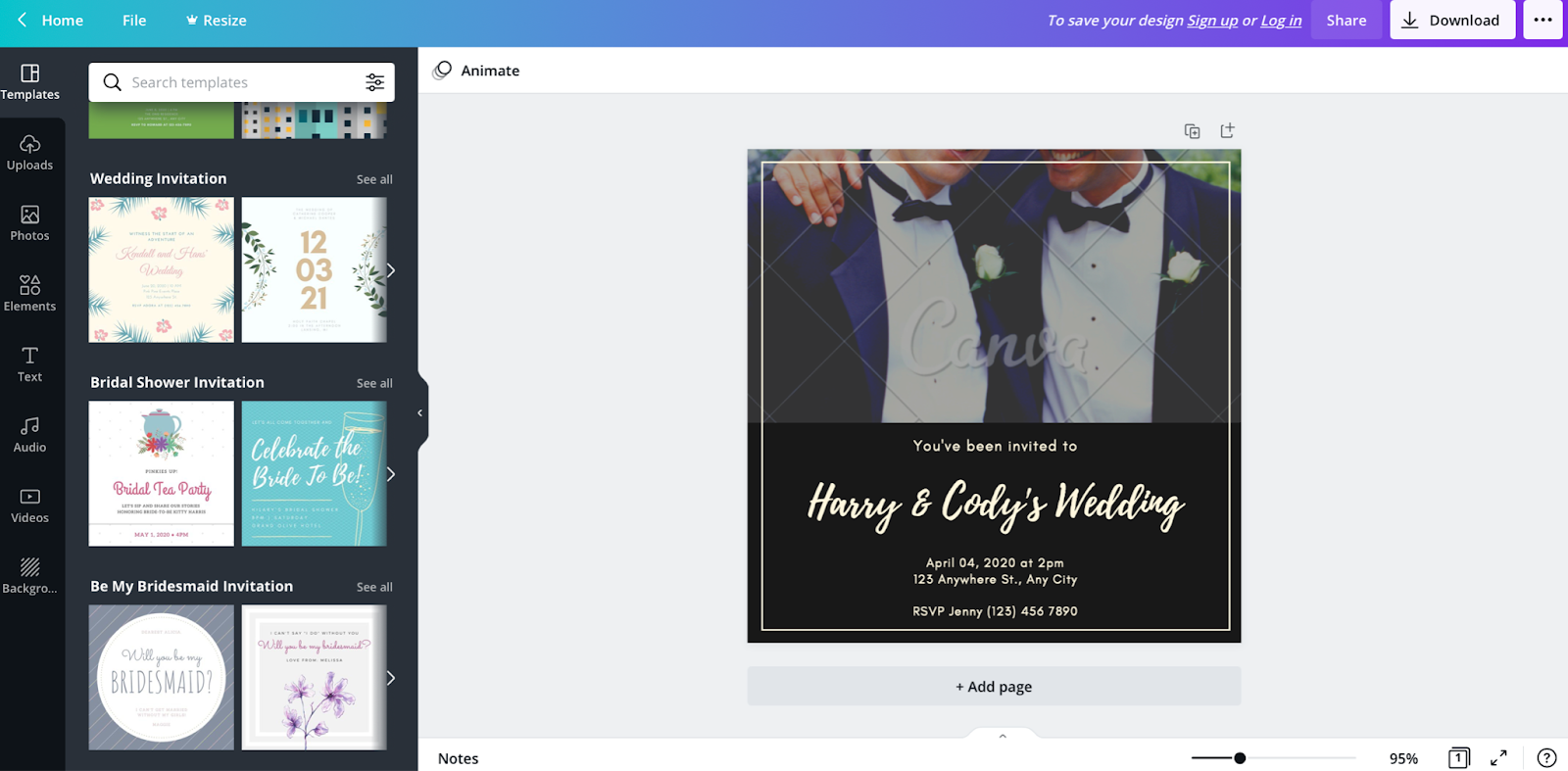 Photo of Canva wedding digital invitation card with shareable link
