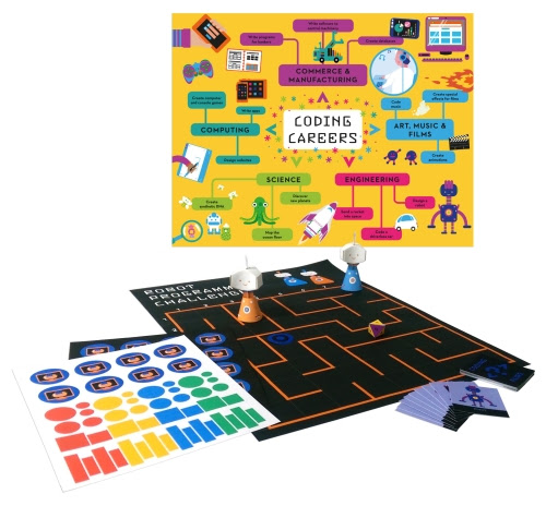 Photo of the Coder Academy board game, robots, poster, sticker sheet, and Coding Pairs cards