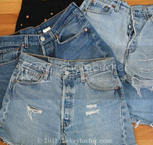 vintage Levi's 501 cutoffs, distressed denim shorts