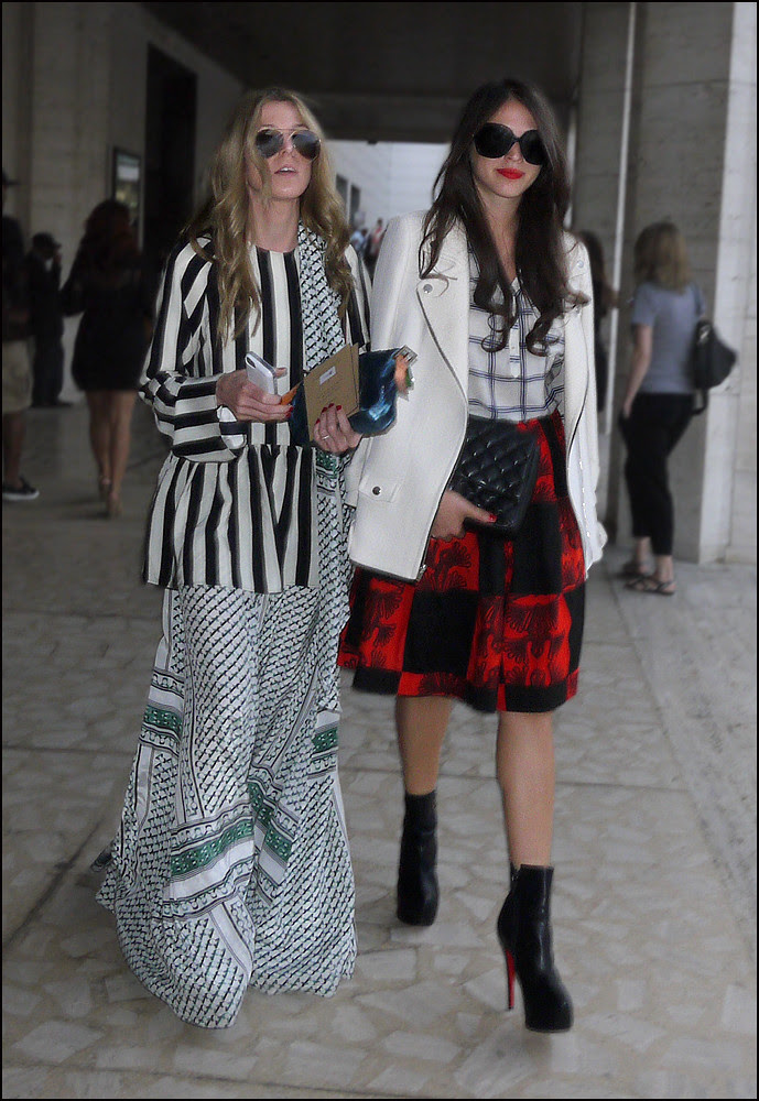 13 w2 black and white stripe jacket long white black green dress white jacket white with black plaid top red and black check with pattern knee length skirt black louboutin short boots ol