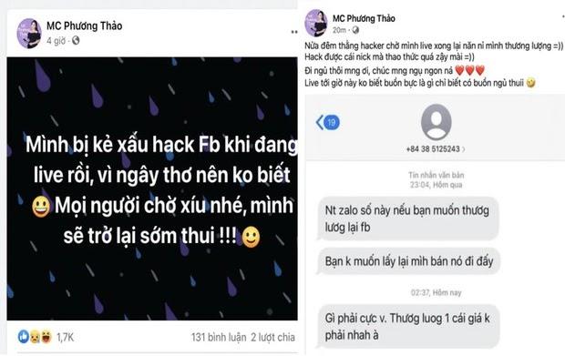Kẻ xấu ngang nhiên hack tài khoản Facebook của MC Phương Thảo ngay trên sóng livestream