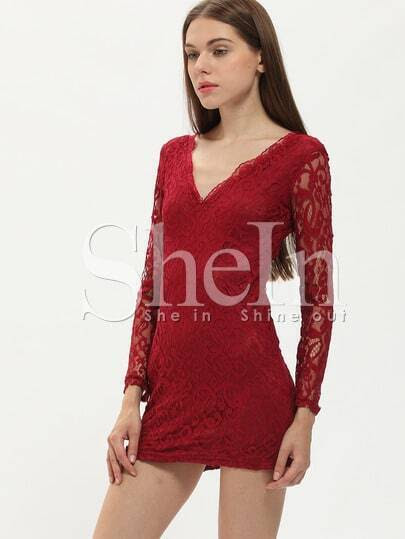 Vestito con colletto V-rosso di vino immagini