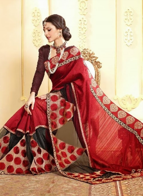 Beautiful-Girls-Women-Wear-Christmas-Exclusive-Saree-Dress-New-Fashion-Red-Suits-Design-14