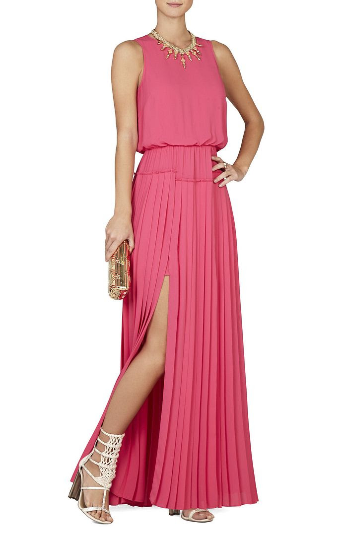 BCBGMAXAZRIA Jenine High-Slit Pleated Skirt Maxi Dress