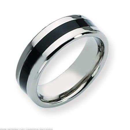 FindingKing   Titanium Black Enamel 8mm Mens Wedding Ring