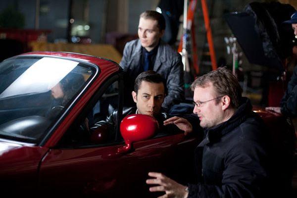 STAR WARS: EPISODE VIII director Rian Johnson directs Joseph Gordon-Levitt and Paul Dano in a scene from the 2012 sci-fi action film LOOPER.