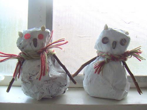 papier mache snow owls