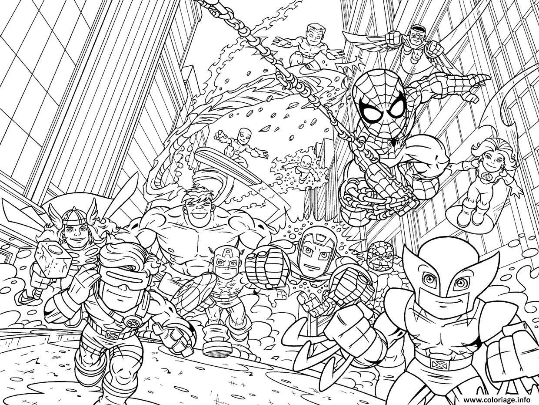 Coloriage Avengers Mini Iron Man Spiderman Captain America Hulk Kids Dessin  Imprimer