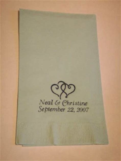 Wedding Favors: Wedding Napkins 50 Personalized Hand Guest
