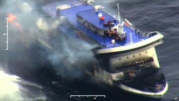 The Norman Atlantic on fire