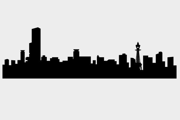 大阪のシルエットの街並み 街建物系イラスト専門サイトtown Illust